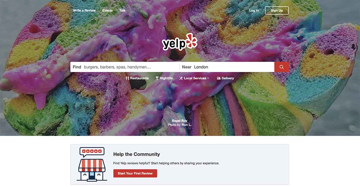 Screenshot of Yelp's homepage