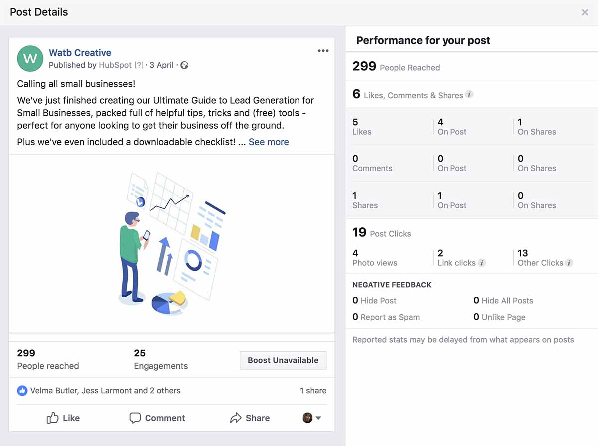 Screenshot of social media post with analytics