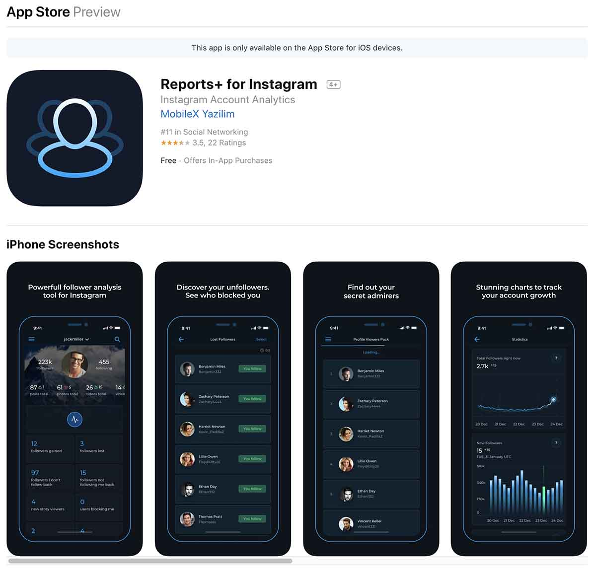 Screenshot of Reports+ for Instagram on the App Store