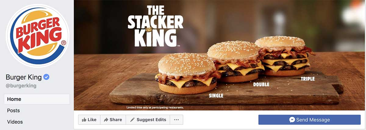 Screenshot of Burger King's Facebook cover photo