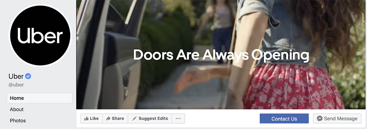 Screenshot of Uber's Facebook cover photo
