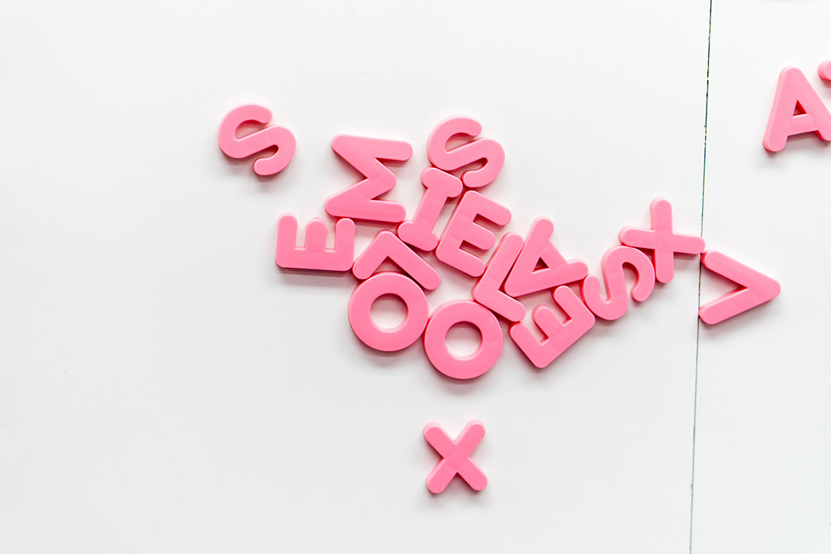 Collection of pink letters