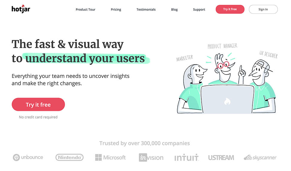 Screenshot of Hotjar's homepage