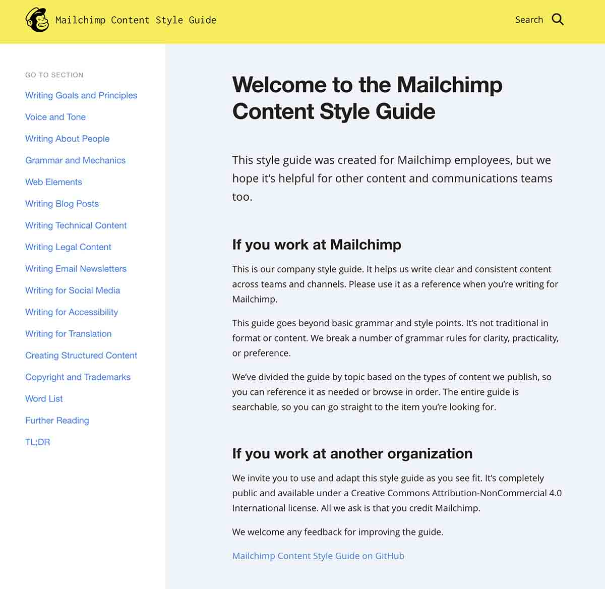 Screenshot of Mailchimp's style guide