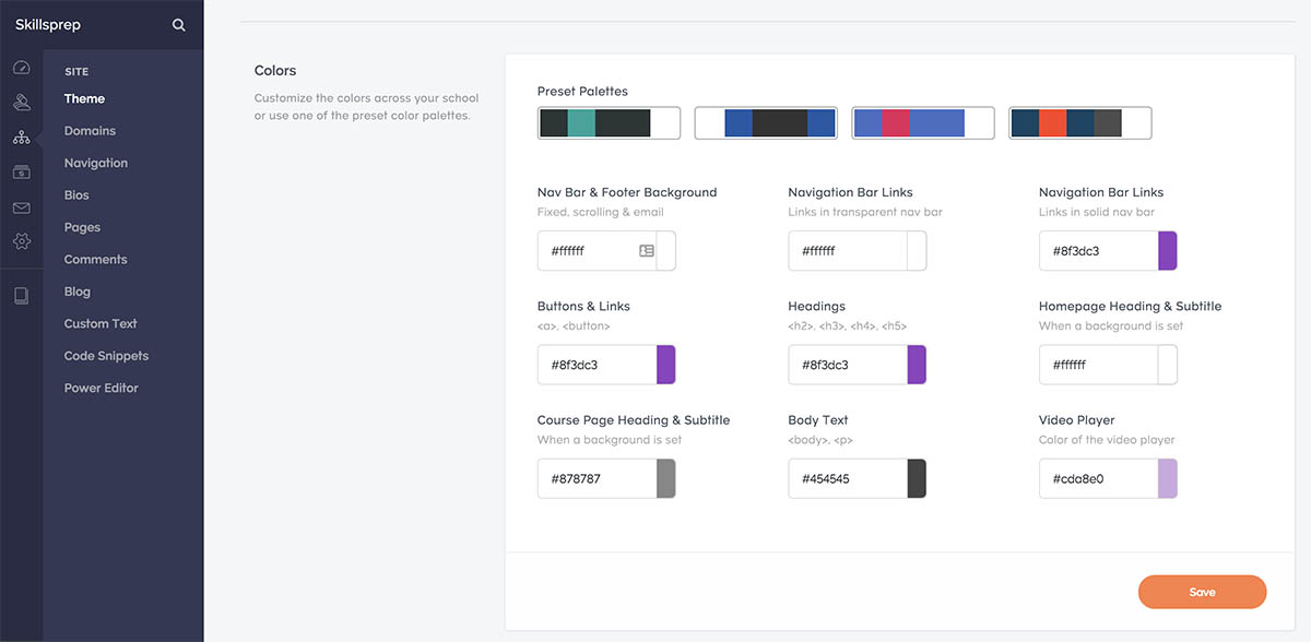 Screenshot of Teachable's colour section