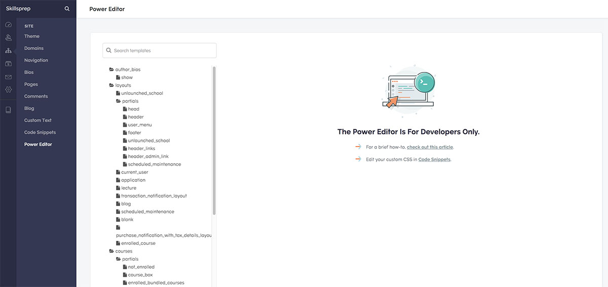 Screenshot of Teachable's Power Editor