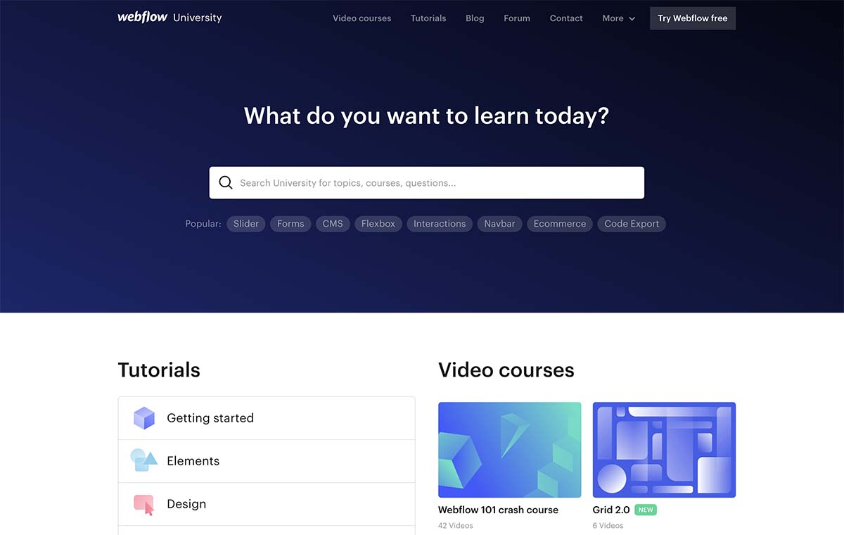 Screenshot of Webflow's University