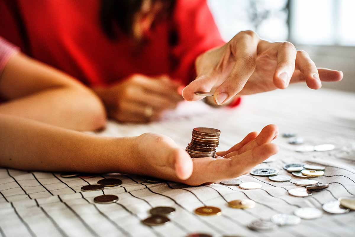 Woman counting out change