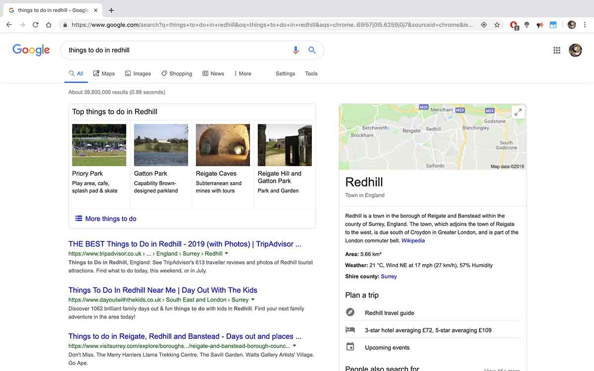 SERPs for the term 'things to do in Redhill'