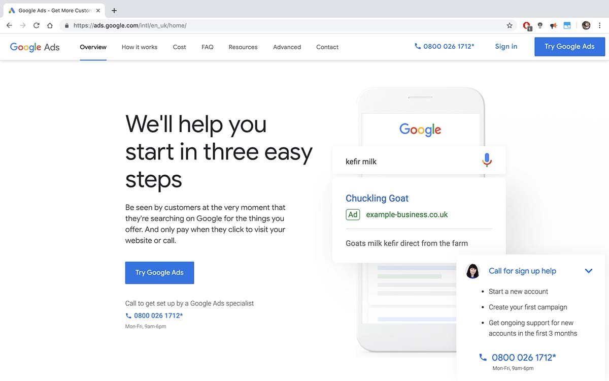 Screenshot of Google Ads' homepage