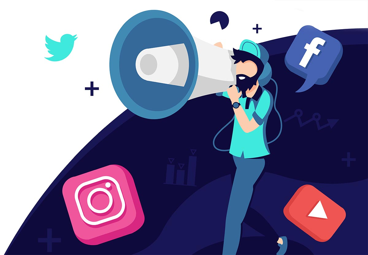 Graphic of a man with a megaphone and social media icons