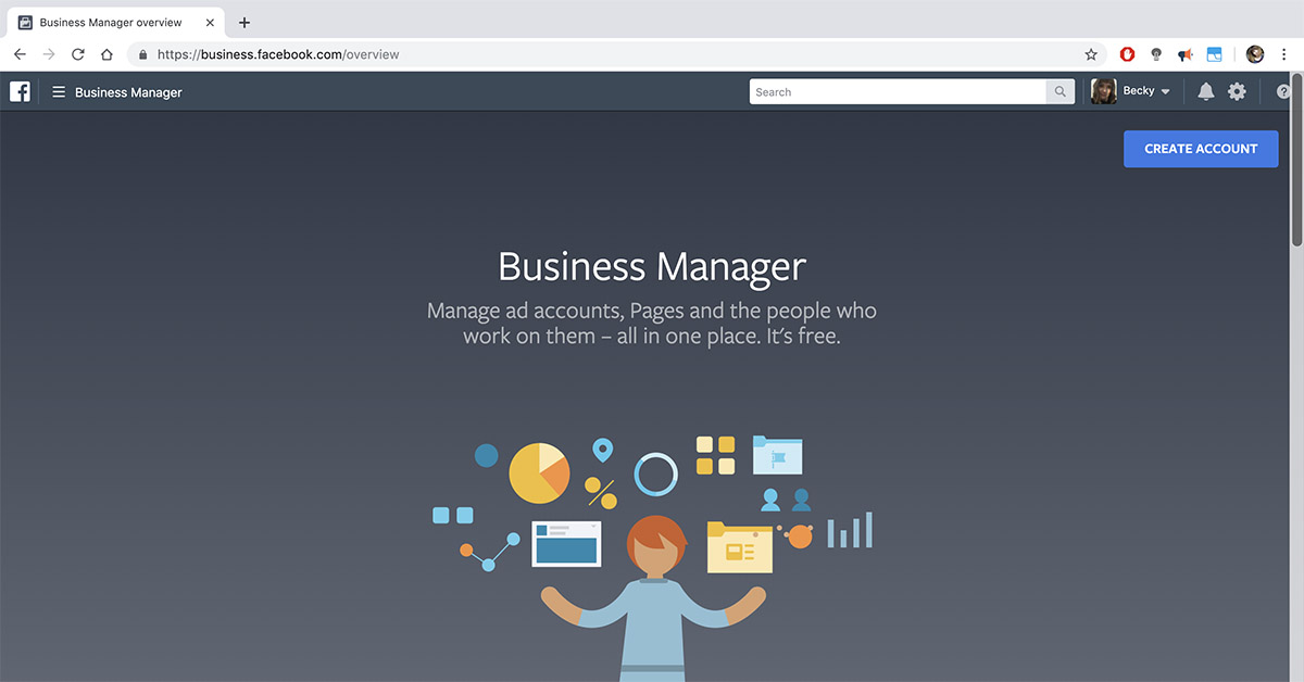 Homepage of Facebook Business Manager