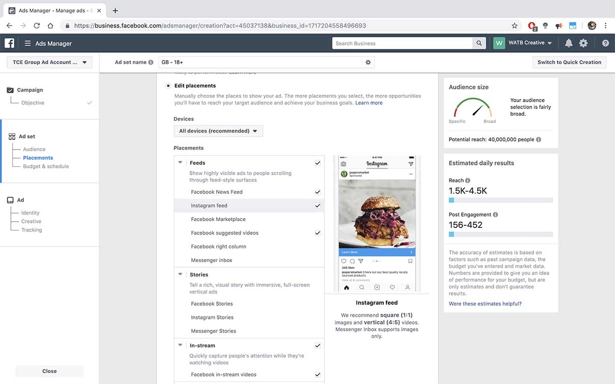Screenshot of the Edit placements section of Facebook Business Manager