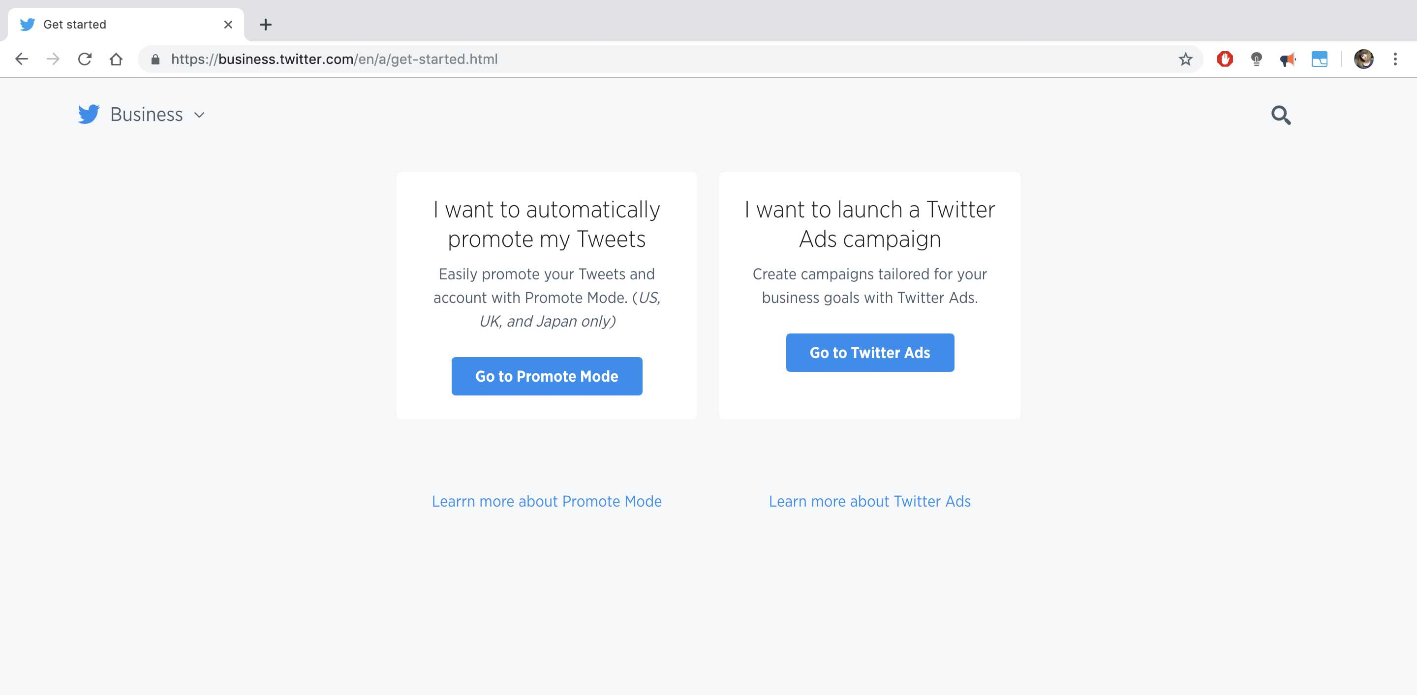 Screenshot of Twitter Ads homepage