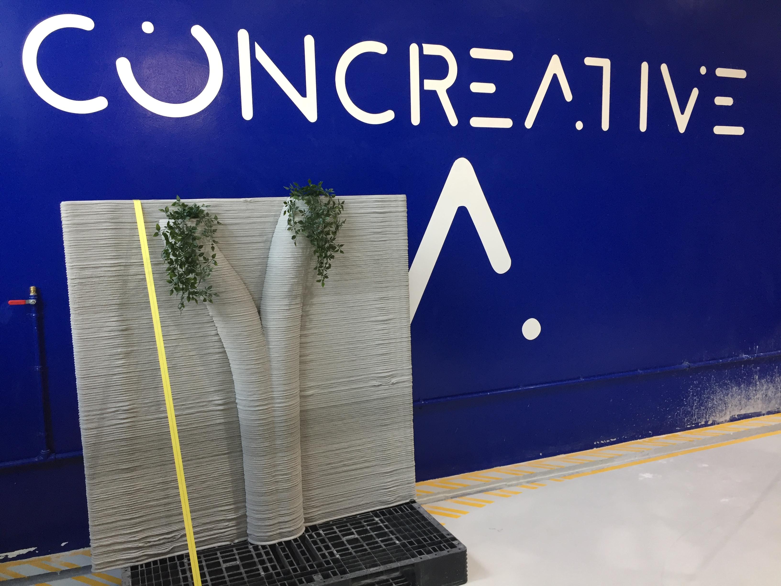Concrete 3D print green wall