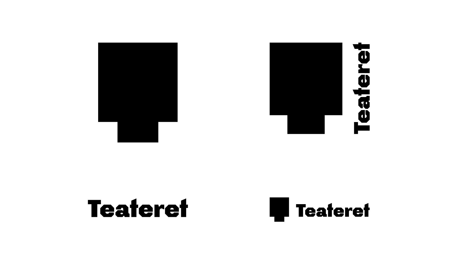 Ulike versjoner av teaterets logo