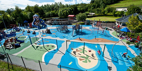 Outdoor Play Area With Multi Play Design & Safety Surfacing