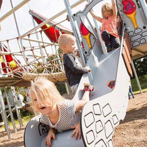 Children Playing On Playground Play Frame Slide
