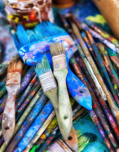 Colourful Paint Brushes & Paint