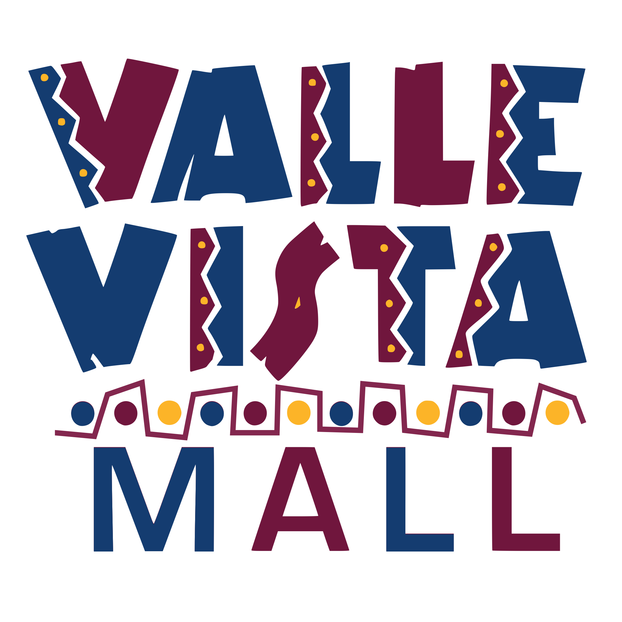 Blue and maroon Valle Vista Mall logo
