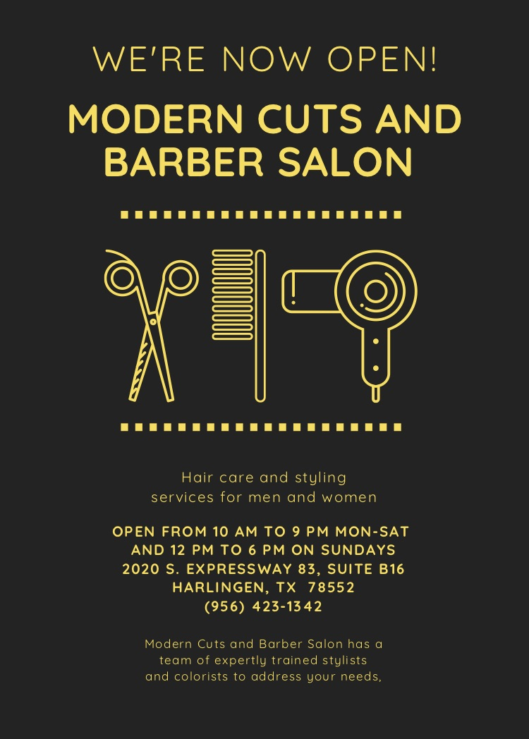 Modern Cuts opening information and hair tools icons