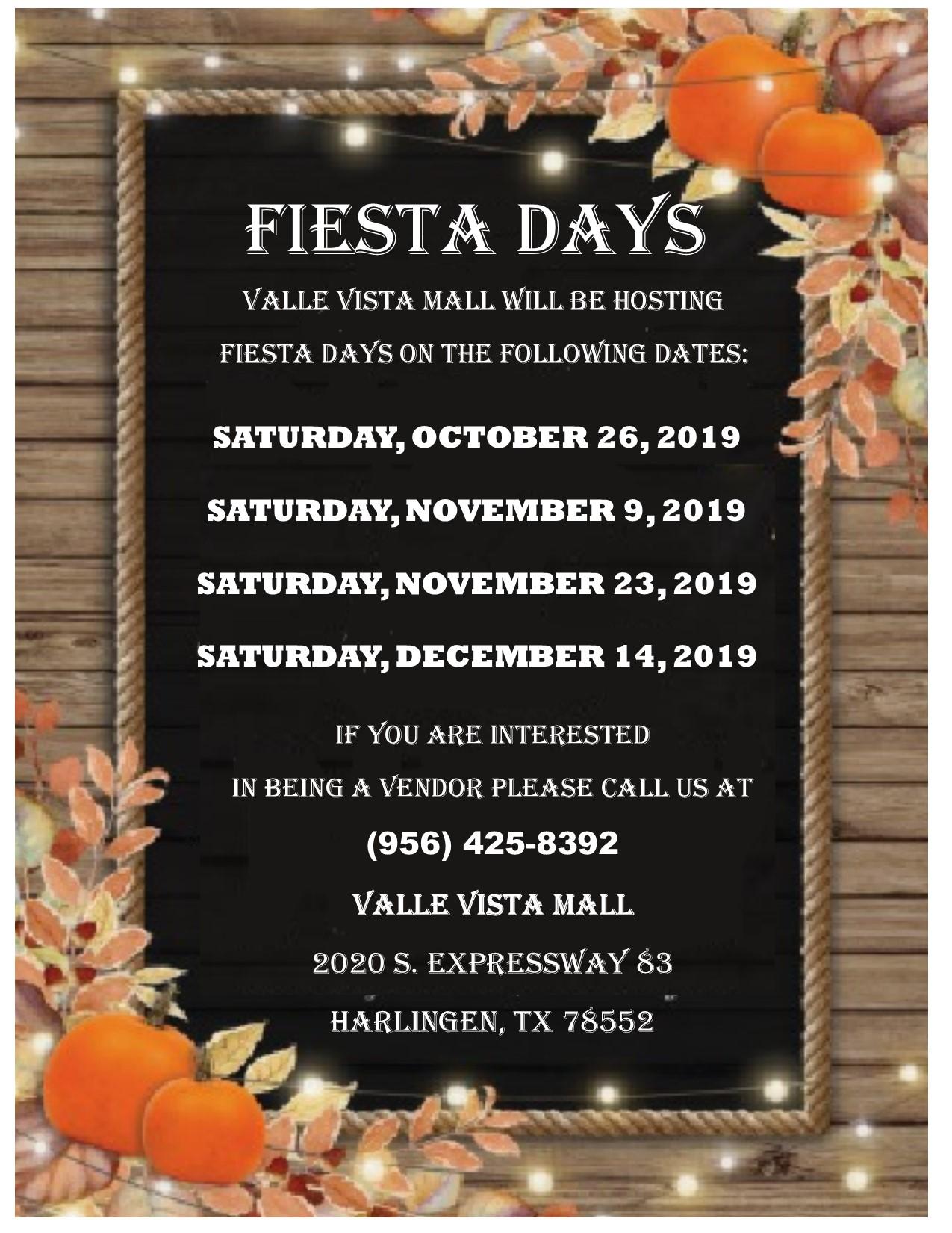 fall fiesta dates at valle vista