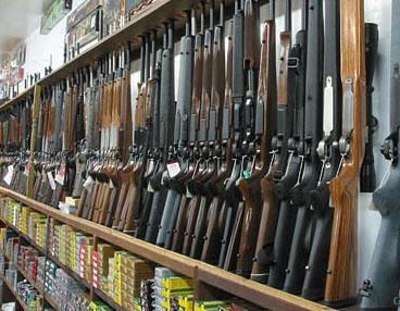 Shelf of Guns and Ammo