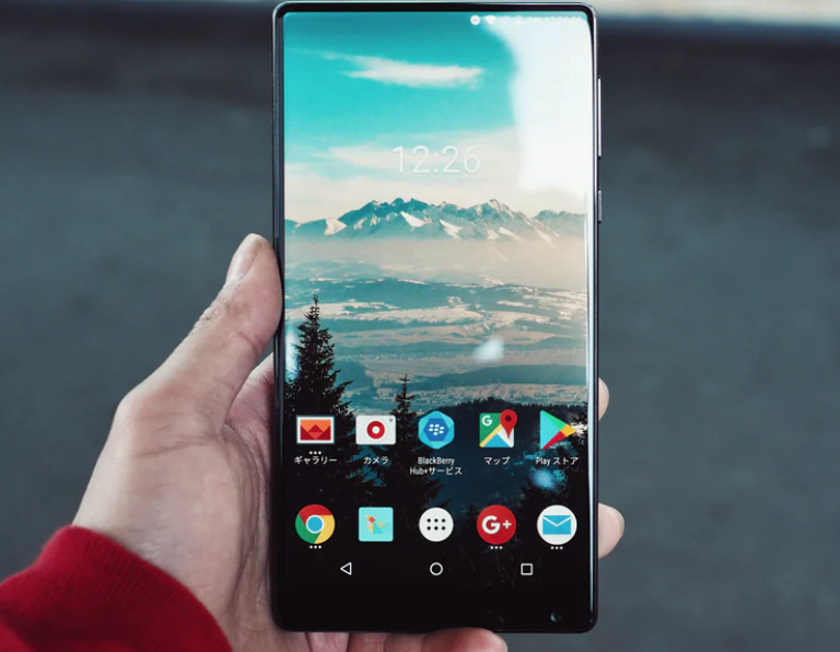 Man holding an Android phone