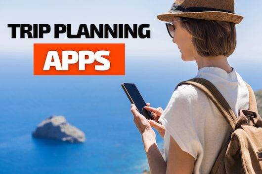 Traveler woman using her phone - Trip Planning Apps