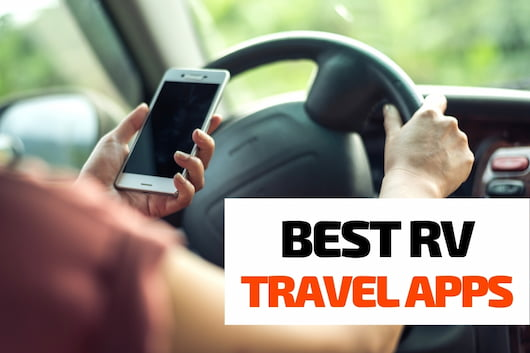 Best RV Travel Apps - Person holding mobile phone