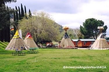 Tipi camping area on Acton Koa