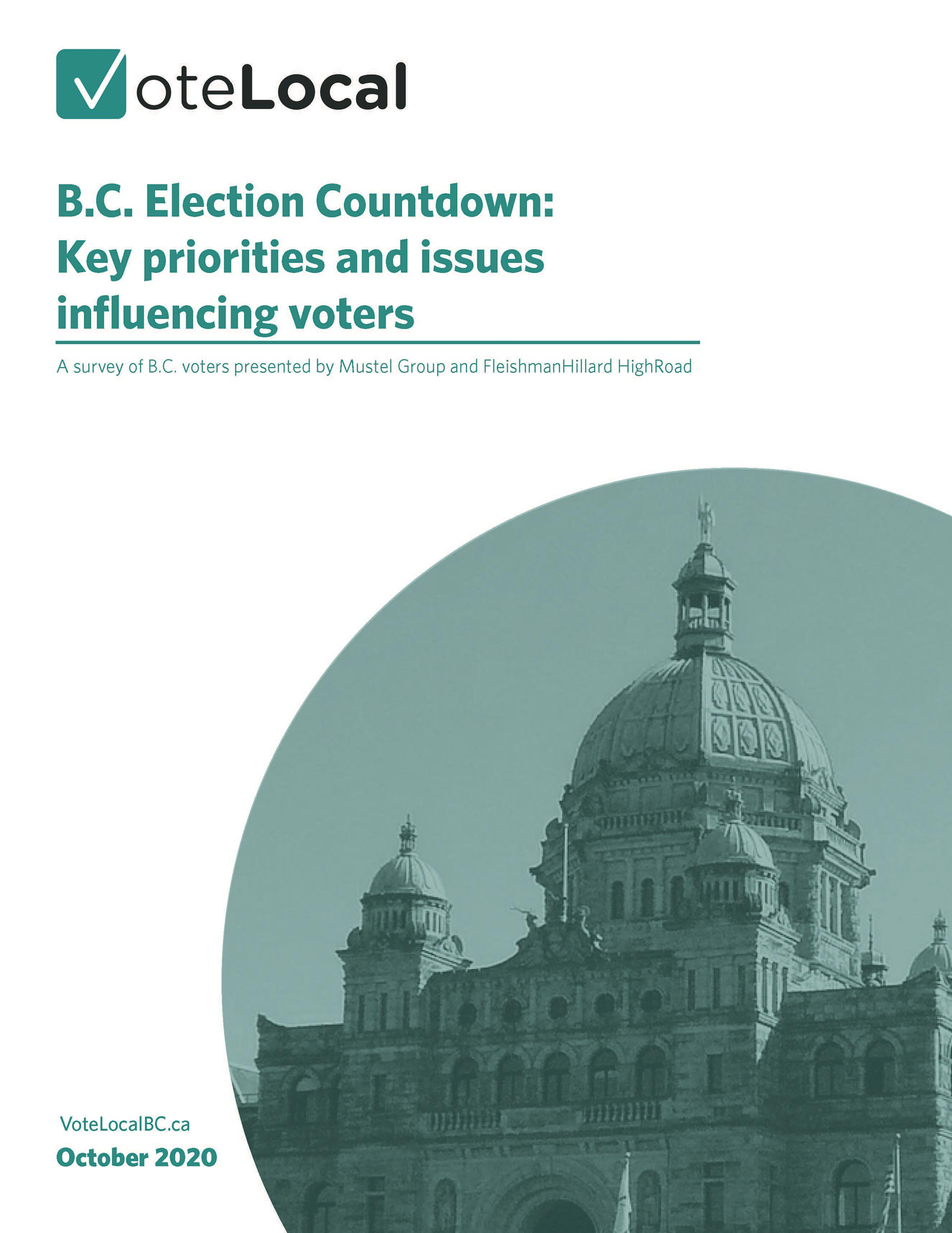 Report cover: B.C. Election Countdown: Key priorities and issues influencing voters