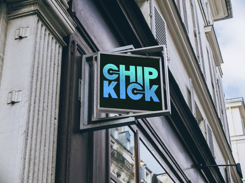 chipkick logo on sign mockup