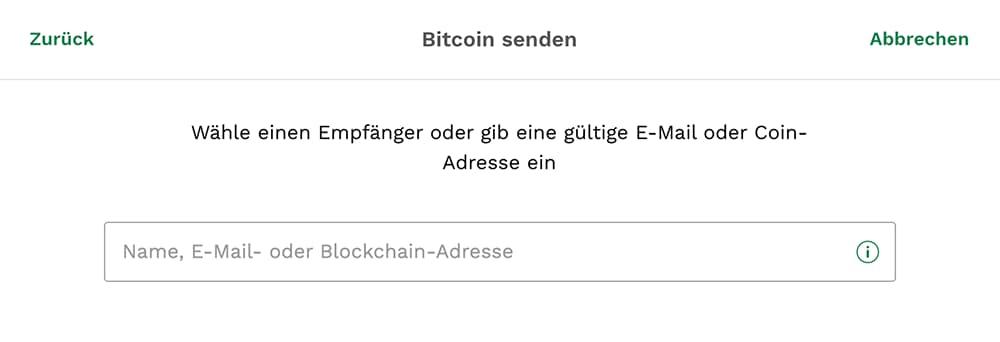 Bitcoin Empfängeradresse eingeben