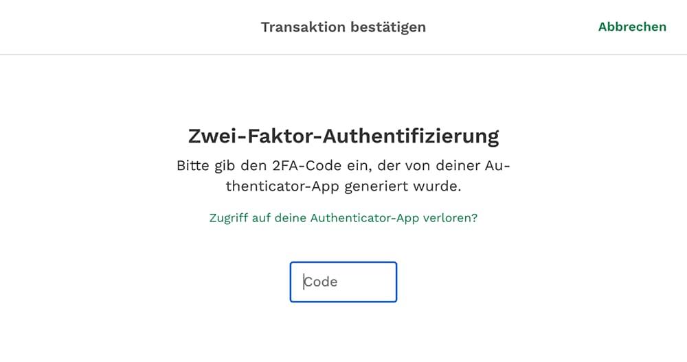 Abfrage Code 2-Faktor-Authentifizierung