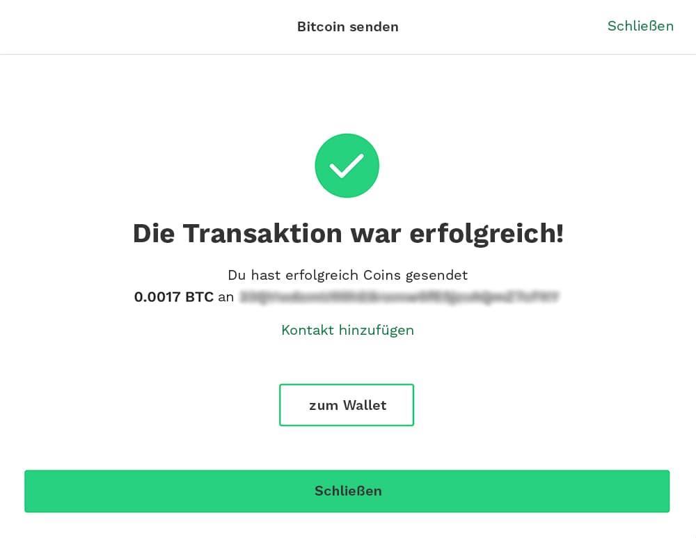 Transaktion erfolgreich