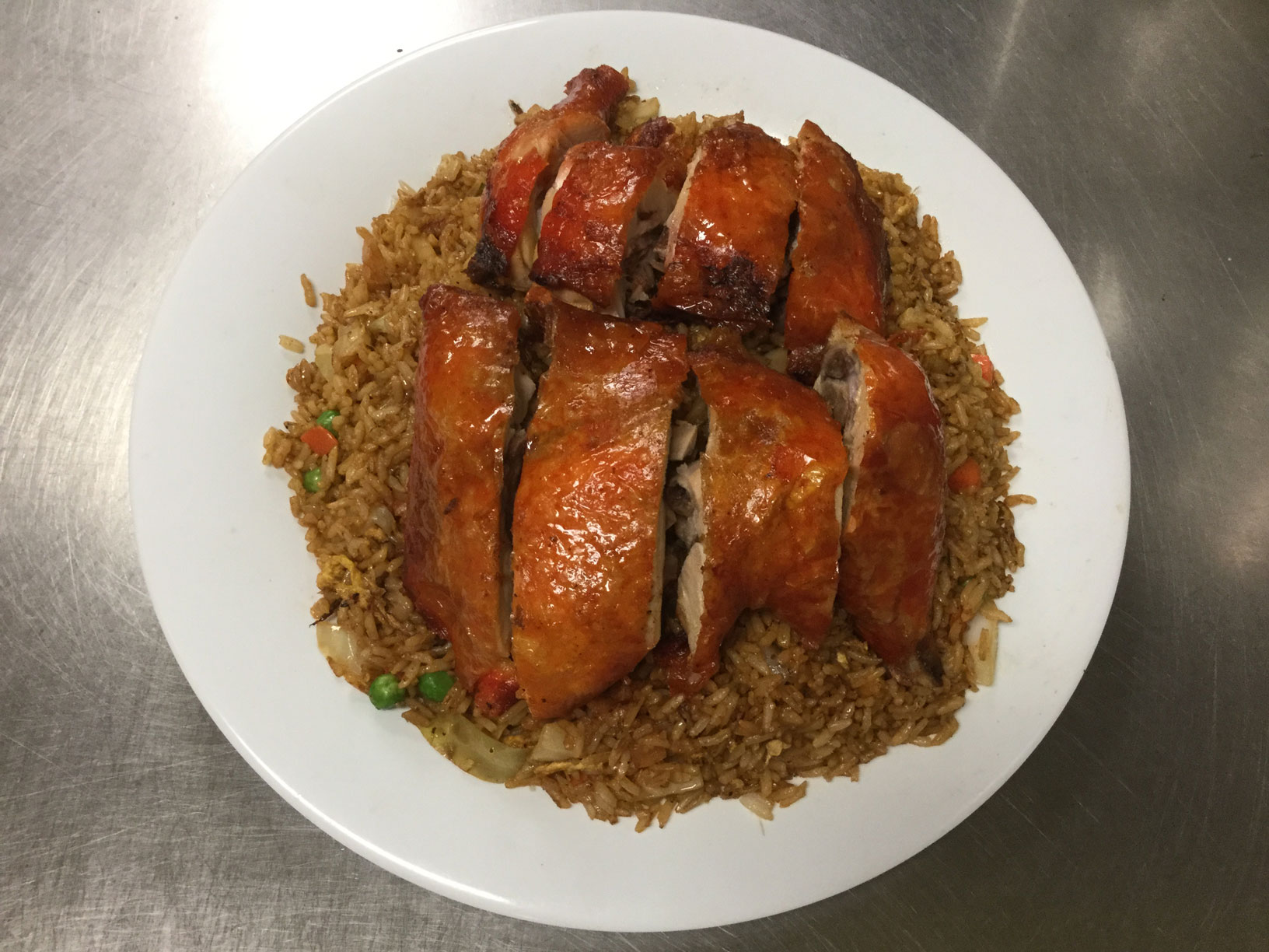 chicken leg and back with fried rice