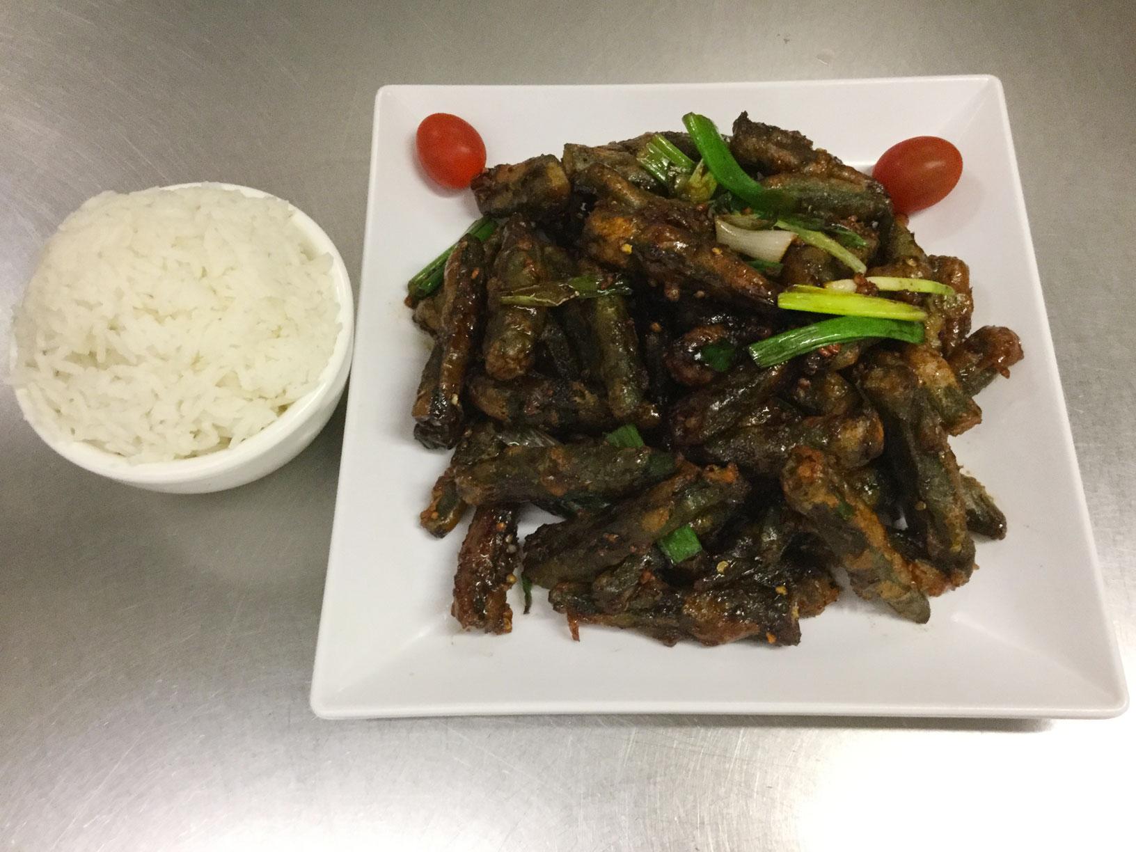 okra dry spicy garlic style