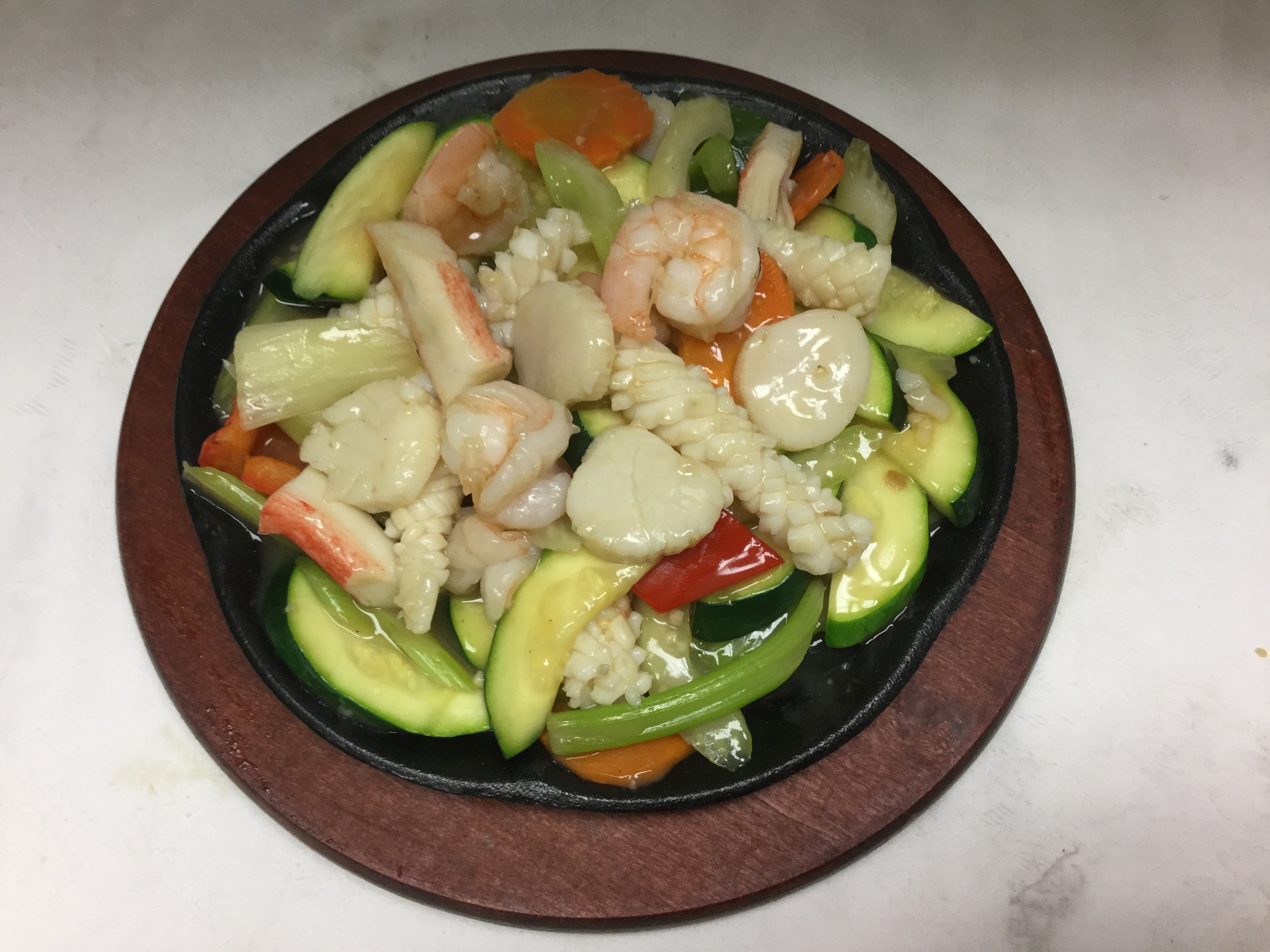 mixed vegetables and seafood