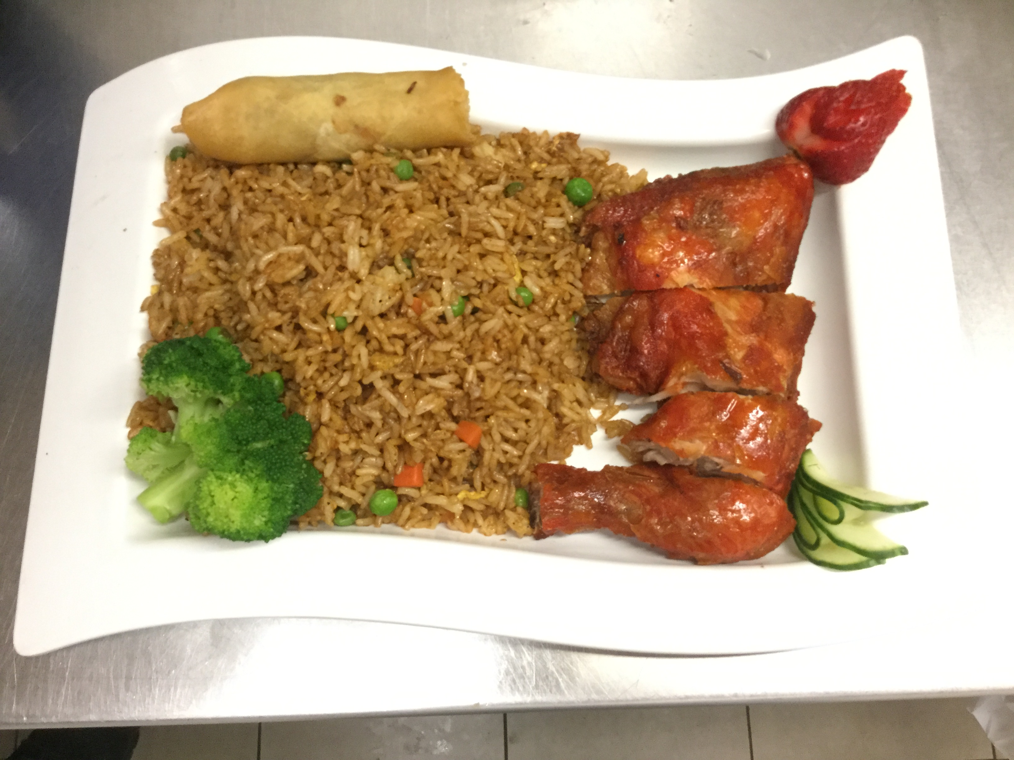 fried chicken with fried rice