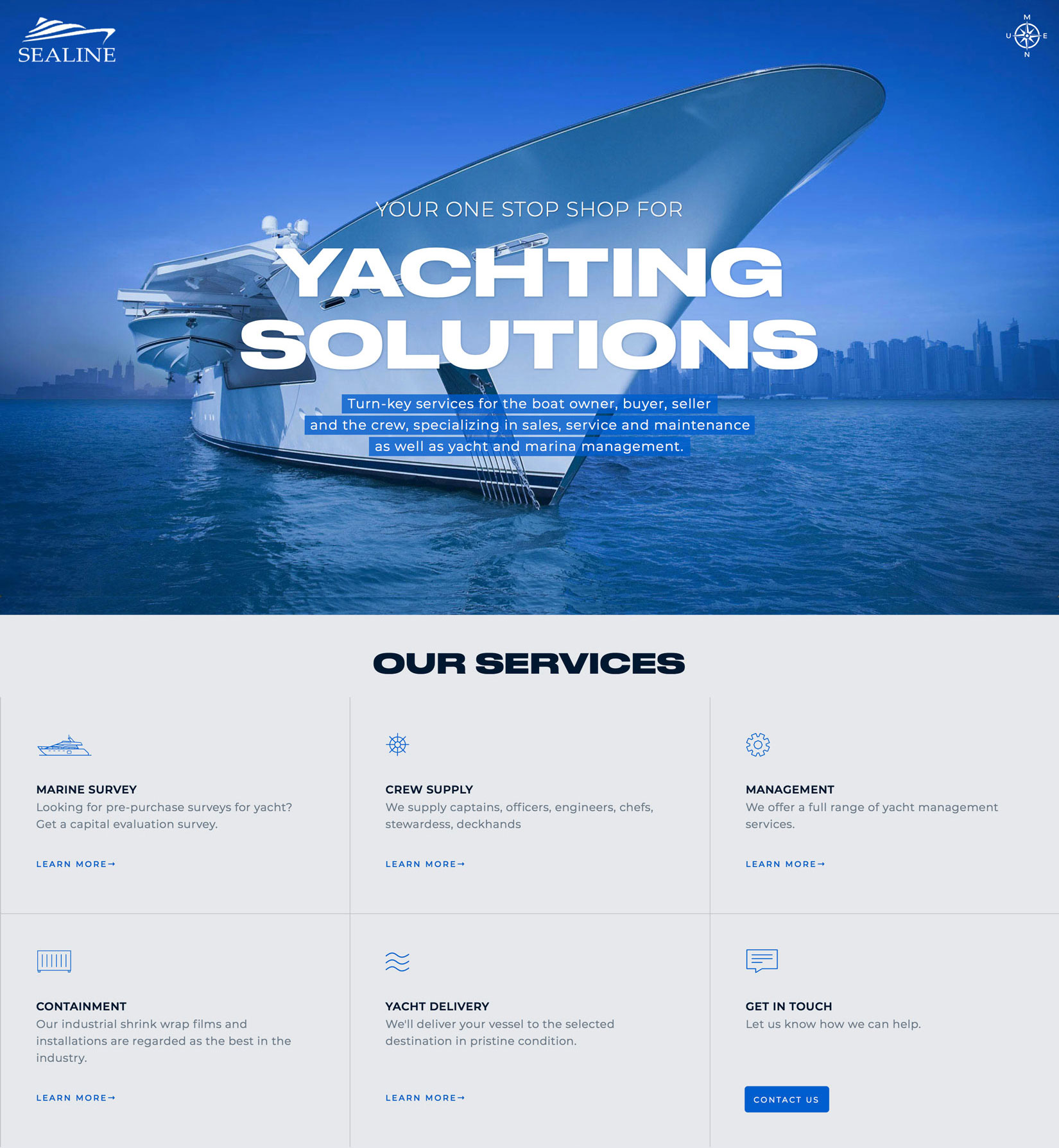Sealine responsive website design using Webflow