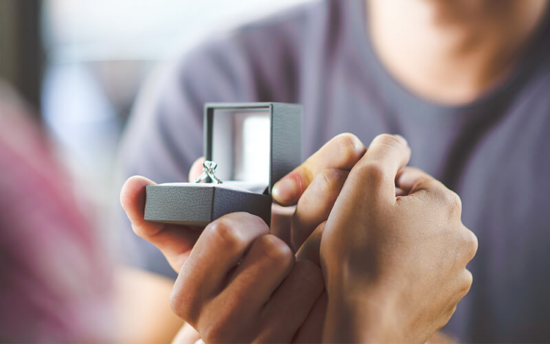 Image of proposal presenting ring in an open jewellery box