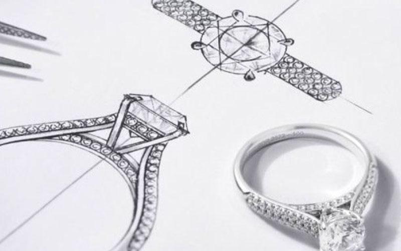 Sketched illustration of bespoke ring design