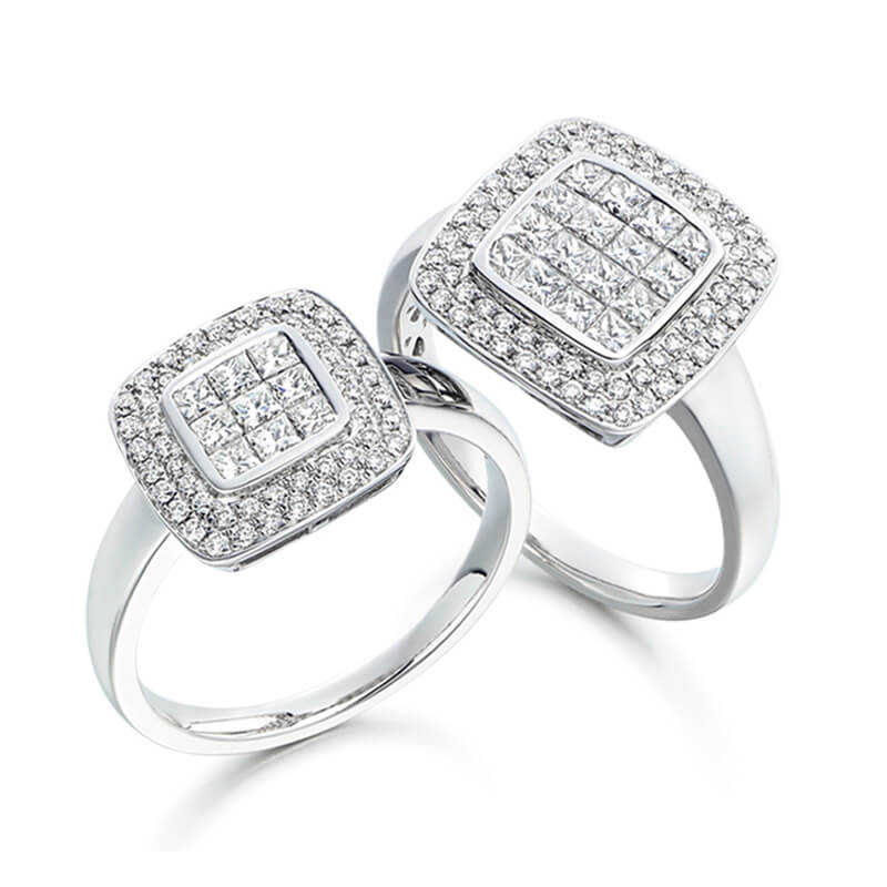Pair of Diamond Engagement Rings in White Gold