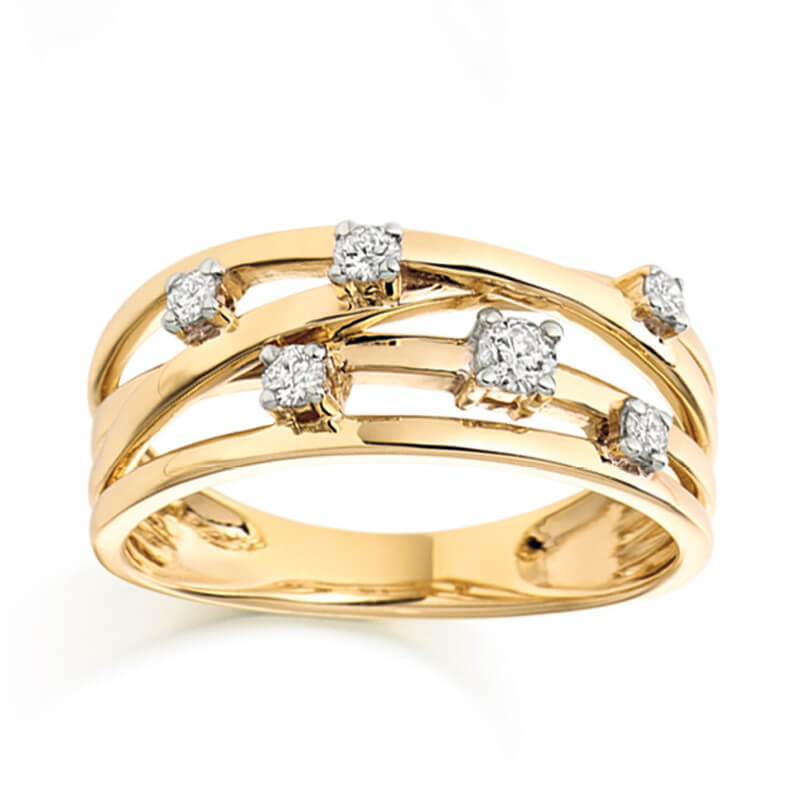 Diamond Fancy Band in Yellow Gold