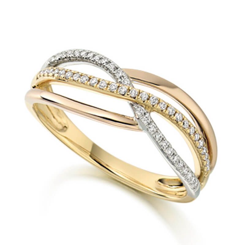 Diamond Fancy Band in Yellow and White Gold