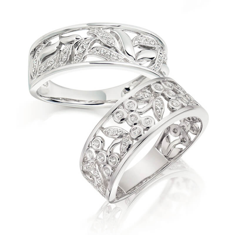 Pair of Diamond Fancy Bands in White Gold