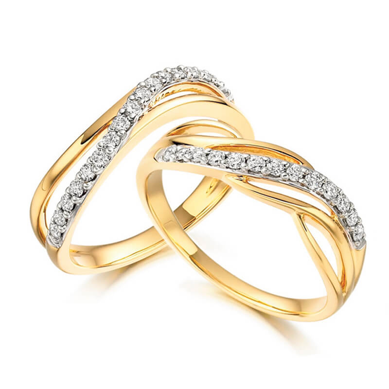 Pair of Diamond Fancy Bands in Yellow and White Gold