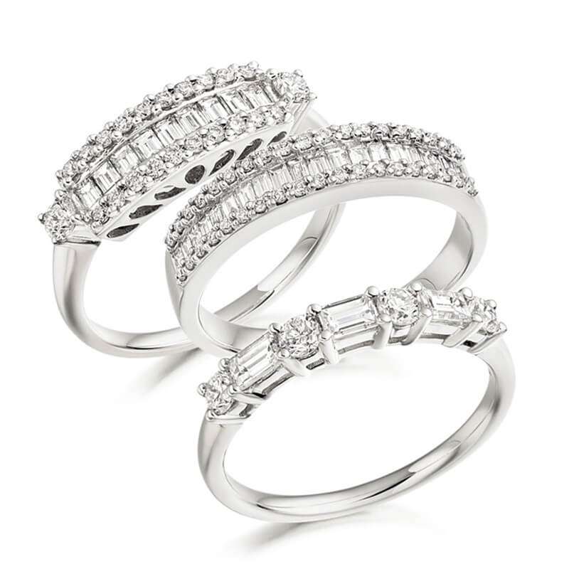 Trio of Diamond Fancy Bands in White Gold