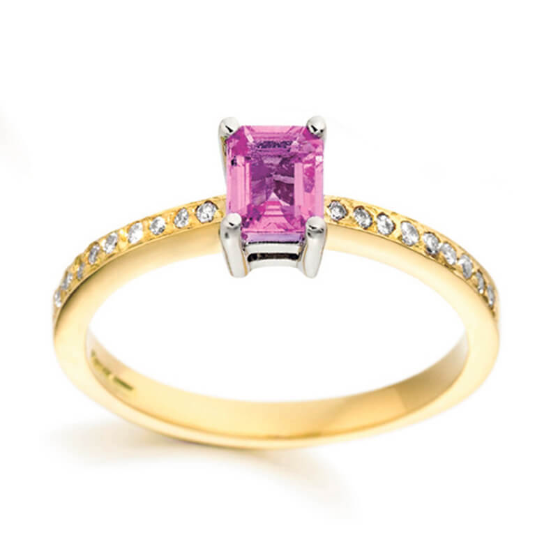 Pink sapphire and diamond ring in yellow gold